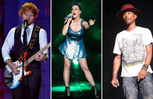 While Taylor Swift, who chose to pull her music from Spotify, doesn't feature in the music service's global list of the 20 most streamed songs of 2014, Ed Sheeran (left), Katy Perry (middle) and Pharrell Williams (right) all have. Spotify's 50 million users streamed over 7 billion hours of music, but which one was streamed the most?
