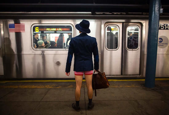 A man takes part in the annual No Pants Subway Ride in New York January 12.