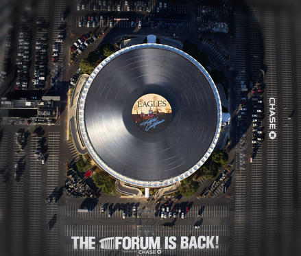 The world's largest vinyl record on top of The Forum concert venue, Los Angeles, America in January.