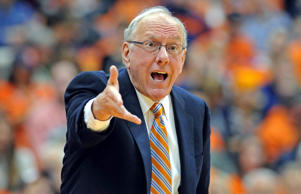 Syracuse Orange head coach Jim Boeheim reacts during a game against the Loyola Greyhounds on Nov. 25, 2014, in Syracuse, N.Y.