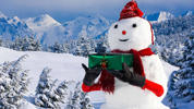 Snowman holding gift