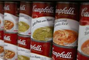 Cans of Campbell's Chunky soup are displayed on a shelf at Santa Venetia Market on May 20, 2013 in San Rafael, California.