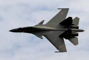 An Indian Air Force Sukhoi Su-30 fighter aircraft which was used to test the glide bomb.