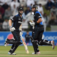 New Zealand captain Kane Williamson (left) and teammate Ross Taylor during the fifth and final ODI at the Zayed International Cricket Stadium in Abu Dhabi on December 19, 2014.