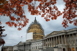 FILE - In this Nov. 13, 2014 file photo, the Capitol Dome in Washington, surrounded by scaffolding for a long-term repair project, and framed by the last of autumn's colorful leaves. So it turns out that this Congress did not produce the fewest laws since the days of President Harry Truman. But it was pretty darn close. Thanks to a late flurry of bill signings by President Barack Obama, the perpetually gridlocked Congress that just adjourned has had 286 bills enacted into law during its two years of work. That's according to congressional records. (AP Photo/J. Scott Applewhite, File)