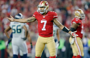 Quarterback Colin Kaepernick #7 of the San Francisco 49ers looks to the officials during the last seconds of the second quarter against the Seattle Seahawks on Nov. 27, 2014 at Levi's Stadium in Santa Clara, Calif.