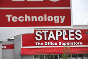 A sign hangs outside a Staples store in Illinois.