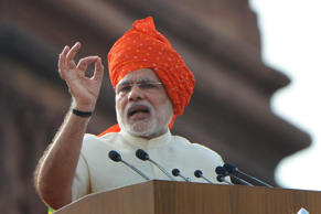 File: Indian Prime Minister, Narendra Modi addressing the Nation on the occasion of 68th Independence Day from the ramparts of Red Fort