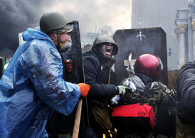 Protesters battle in the streets of Kiev, Ukraine, in February, 2014.