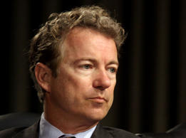 In this April 1, 2014 file photo, Sen. Rand Paul, R-Ky. listens on Capitol Hill in Washington.