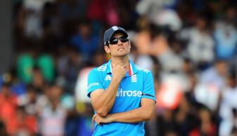 File: England captain Alastair Cook looks on during the second One Day International (ODI) match between Sri Lanka and England at the R. Premadasa Cricket Stadium in Colombo