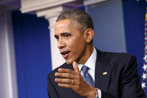In this Dec. 19, 2014 file photo, President Barack Obama speaks during a news conference in the Brady Press Briefing Room of the White House in Washington.