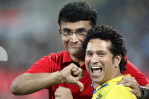 Sachin Tendulkar of Kerala Blasters and Sourav Ganguly of Atletico De Kolkata during the closing ceremony of Indian Super League football tournament at DY Patil Stadium on December 20, 2014 in Mumbai, India.