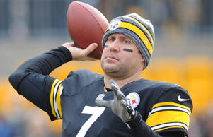 Pittsburgh Steelers quarterback Ben Roethlisberger (7) warms up before an NFL football game against the Kansas City Chiefs in Pittsburgh, Sunday, Dec. 21, 2014.