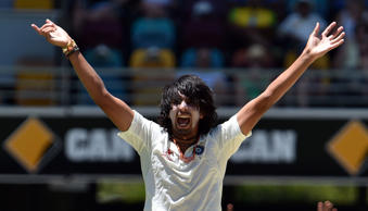India's paceman Ishant Sharma lauds an unsuccessful leg before wicket appeal against Australia's Brad Haddin on the third day of the 2nd Test match between Australia and India at The Gabba in Brisbane on December 19, 2014.
