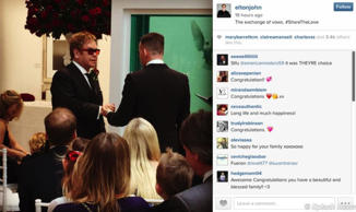 Sir Elton John and David Furnish share their wedding day joy through Instagram