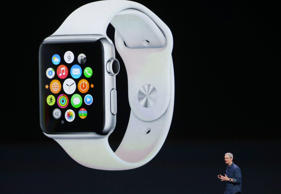 Apple CEO Tim Cook announces the Apple Watch during an Apple special event at the Flint Center for the Performing Arts on September 9, 2014 in Cupertino, California.