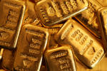 One hundred gram gold bars are seen at Gold Investments Ltd. bullion dealers in London.
