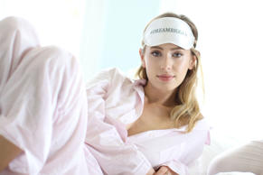 Touted as the next big thing, this 23-year-old is promoting her mother's new line of sleepwear. She has her mother's and her father's intensity, guess which which famous actors are her parents.