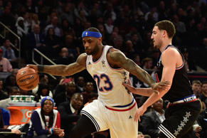 Eastern Conference forward LeBron James of the Cleveland Cavaliers (23) dribbles against Western Conference guard Klay Thompson of the Golden State Warriors (11) during the second half of the 2015 NBA All-Star Game at Madison Square Garden.