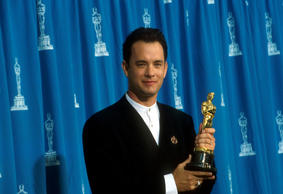 Actor Tom Hanks receives his Oscar at the Academy Awards in Los Angeles, CA., Ma...