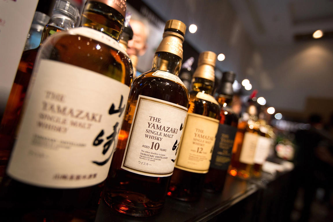 Bottles of award-winning Japanese Suntory Yamazaki single malt whisky, on display at the 'Whisky Live Tokyo 2012, Tokyo International Bar Show', on May 5, 2012 in Tokyo, Japan.