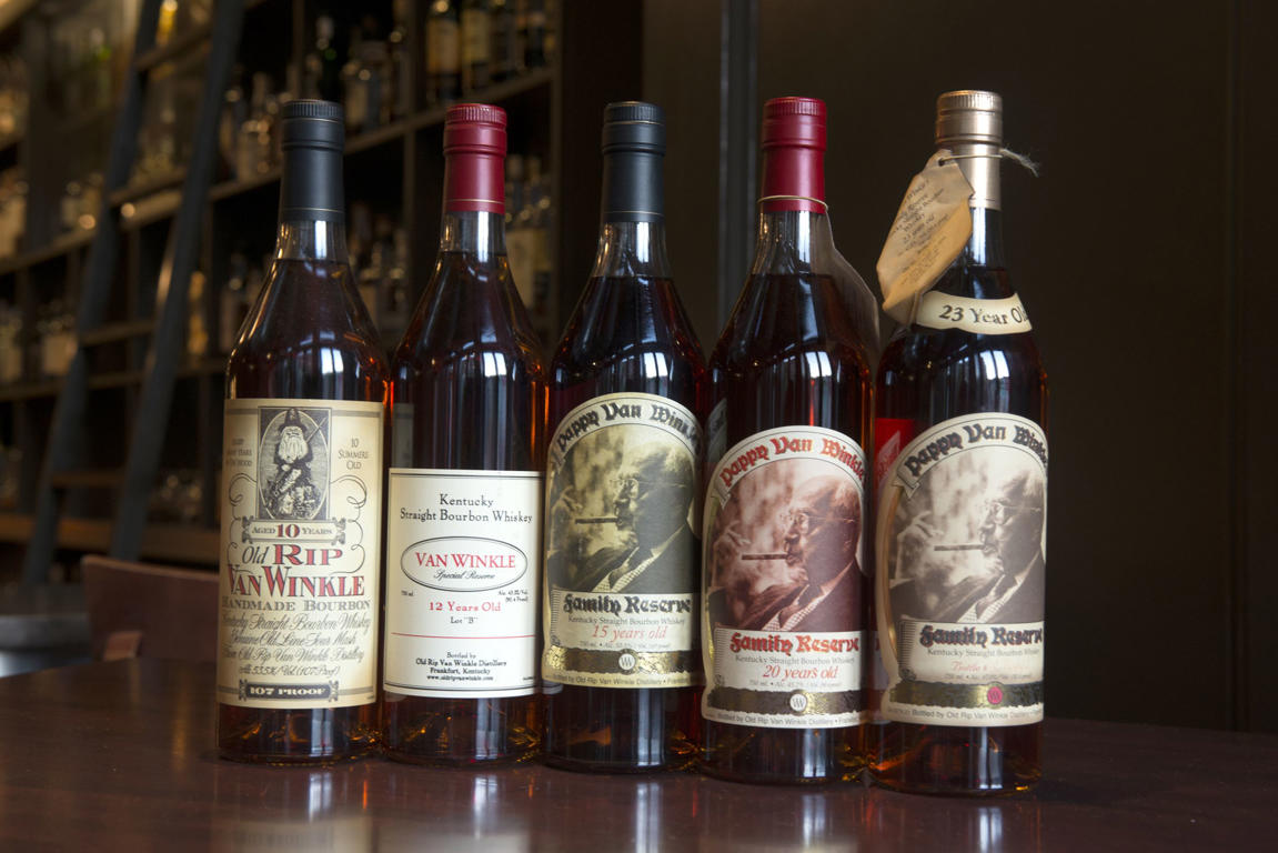Bottles of Pappy Van Winkle bourbon.