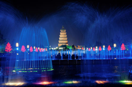 'Illuminated water show at 1300-year-old Big Wild Goose Pagoda in Xian, Shaanxi province, China'