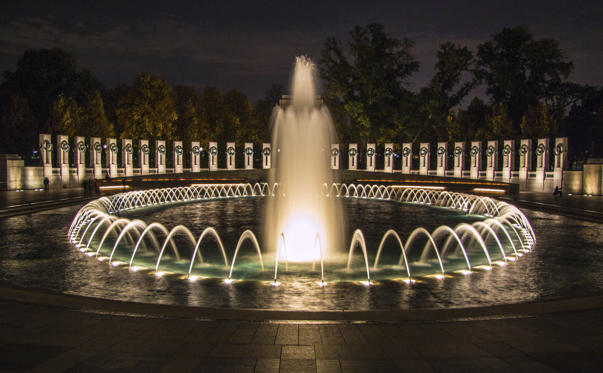 Fountain at the World War II Memorial in Washington, DC at night.