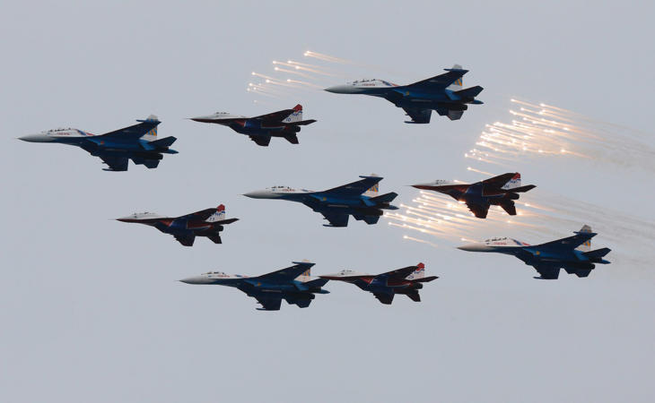 File image of planes from Russia's military aerobatics teams Strizhi (Swifts) and Russian Knights
