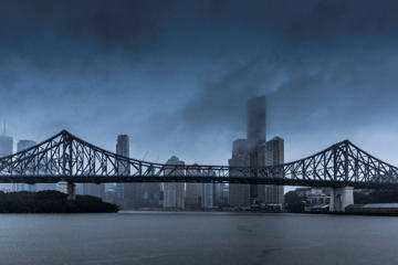 Rain falls on the Brisbane central business district (CBD) and the Story Bridge on February 20, 2015 in Brisbane, Australia. Tropical Cyclone Marcia was graded a Category 4 storm as it made landfall early this morning near Shoalwater Bay in Central Queensland, with wind gusts of up to 285 kilometres per hour.