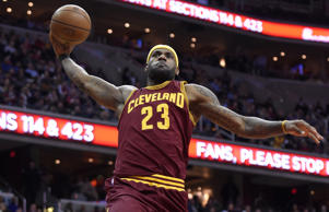 Cleveland Cavaliers forward LeBron James goes to the basket against the Washington Wizards Feb. 20 in Washington. The Cavaliers won 127-89.
