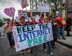 Supporters of Net Neutrality march in Washington, May 15, 2014.