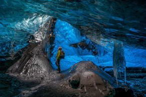 Ice caves in the Vatnajokull glacier, Iceland