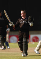 Scott Styris of New Zealand celebrates his century during the Cricket World Cup Pool B match between Sri Lanka and New Zealand held on February 10, 2003 at Goodyear Park in Bloemfontein, South Africa.