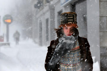 Dylan Chestnutt walks through winter storm in Portland, Maine, in 2015.