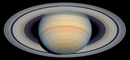 This image of Saturn, released Tuesday, Sept. 9, 2003, taken by NASA's Hubble Space Telescope between March and April 2003, shows the planet's rings at a maximum tilt of 26 degrees toward Earth.