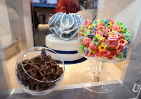 Edible confections made in the 3D Systems ChefJet Pro 3D food printer are displayed at the 2014 International CES, January 9, 2014 in Las Vegas, Nevada.