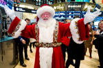 File photo of a Santa Claus performer at the New York Stock Exchange.