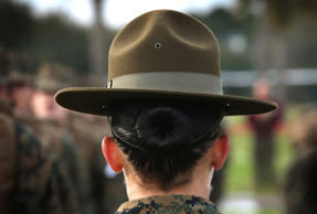 Drill Instructor Sgt. Linda Vansickle from Pensacola, Florida speaks to her female Marine recruits during boot camp February 27, 2013 at MCRD Parris Island, South Carolina.