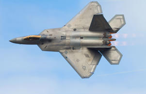 Lockheed Martin F-22A Raptor carries out a 'Dedication Pass' as part of it's display at Joint Base Elmendorf-Richardson, Anchorage, Alaska.