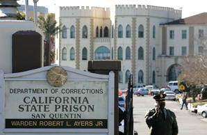 A guard stands at the entrance to the California State Prison at San Quentin January 22, 2007, in San Quentin, California.