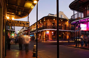 Bourbon Street in the French Quarter of New Orleans.