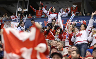 Fans cheer near the end of the game as Team Canada beats Team Denmark 8-0 in the quarter final round of the IIHF World Junior Hockey Tournament at the Air Canada Centre in Toronto. January 2, 2015.