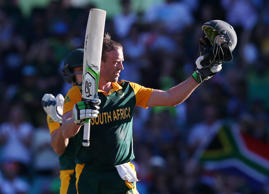 South Africa's AB De Villiers celebrates after scoring a 150 runs during their Cricket World Cup Pool B match against the West Indies in Sydney, Australia, Friday, Feb. 27, 2015.