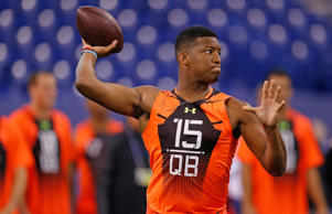 Florida State quarterback Jameis Winston runs a drill at the NFL football scouting combine in Indianapolis, Saturday, Feb. 21, 2015.