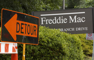A 'detour' sign is posted at the main entrance to the Freddie Mac headquarters on July 14, 2008 in McLean, Virginia.