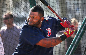 Boston Red Sox third baseman Pablo Sandoval (#48) during a batting practice session.