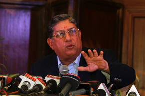 Indian cricket board (BCCI) President N. Srinivasan speaks to the media during a news conference in Kolkata May 26, 2013.