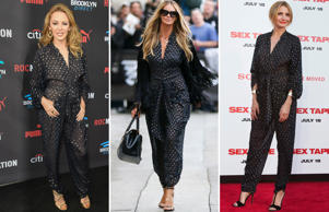 Kylie Minogue,  Elle MacPherson and  Elle MacPherson wearing the same dress designed by Stella McCartney .